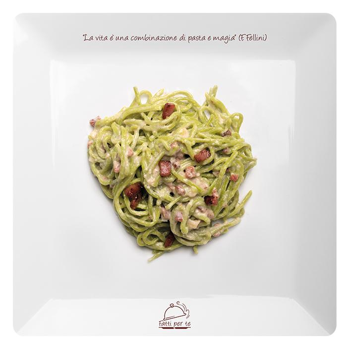 Pasta Fresca all'Uovo – Tagliolini Verdi Speck e Gorgonzola
