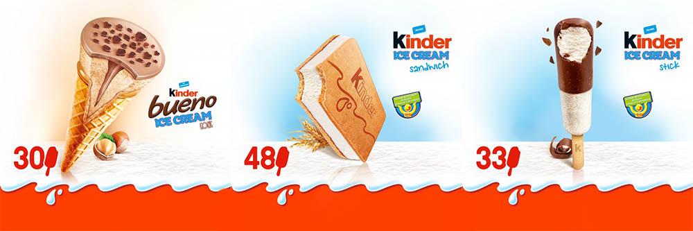 Saranno realizzati tre nuovi gelati il Kinder Bueno Ice Cream Cone, il Kinder  Ice Cream stick e il Kinder Ice Cream Sandwich (un gelato biscotto).